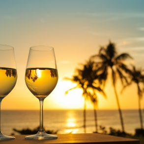 refreshing drinks and sunset views over the water
