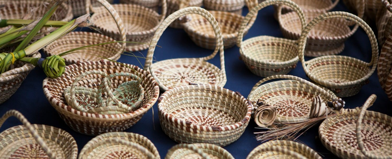 sweet grass baskets at the charleston night market
