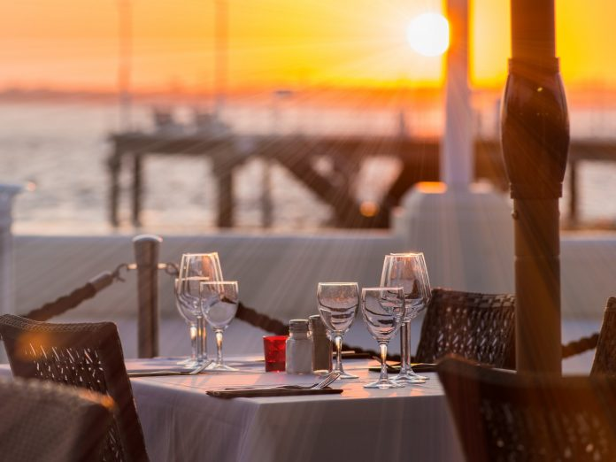 sunset waterfront dining