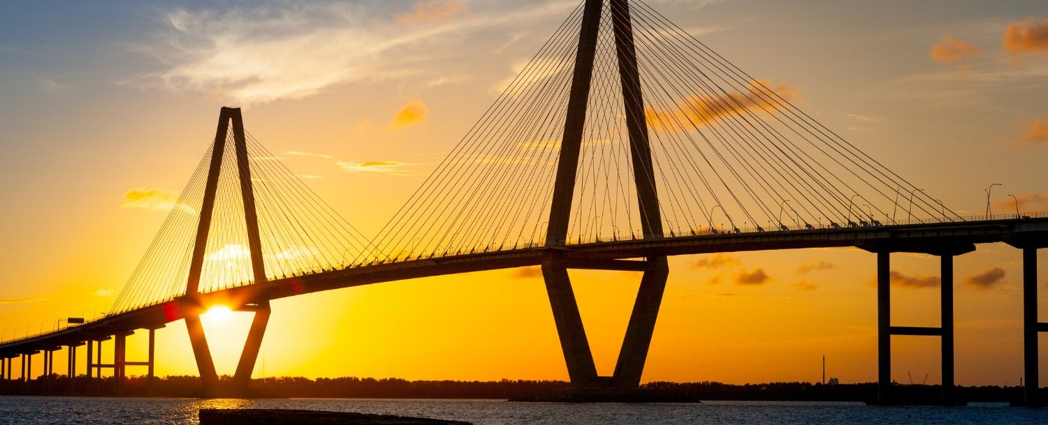 Sunset behind the Cooper River Bridge in Charleston, SC
