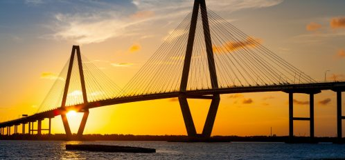 Sunset behind the Cooper River Bridge in Charleston, SC