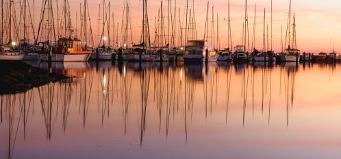 boats at sunset in a marina