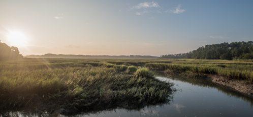 Green and blue sunrise view over the tidal marsh near Hilton Head South Carolina.