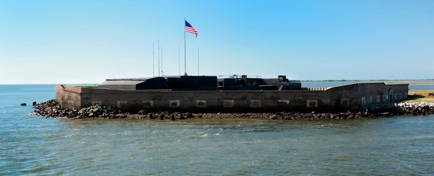View of Fort Sumter and the Charleston Harbor.